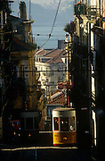 A city tram climbs the steep countours of Lisbon's Rua de Bica de Quarte Belo in the Portuguese capital's Bica district.