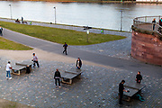 "Germany banned gatherings of more than 2 people called ""social distancing"" because of the coronavirus. Free time activities at the  shore of river Main in Frankfurt which is very empty on a - normally very busy - Thursday evening."