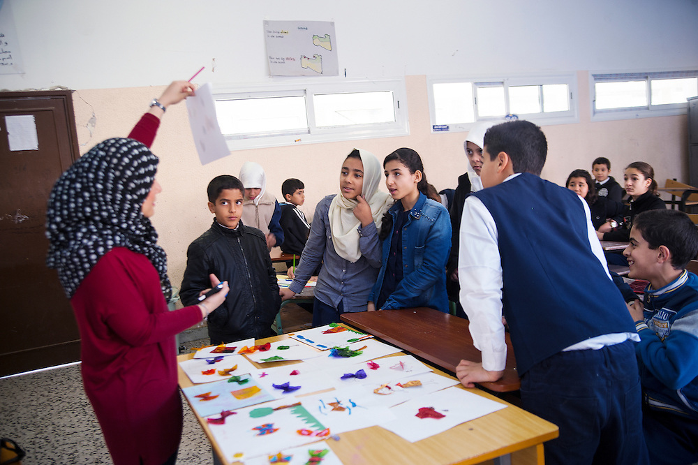 LIBYA, TRIPOLI: Artist Najla Shaftari teaches art at a school for the past seven years. She hopes that the children can learn a way of expression through art.