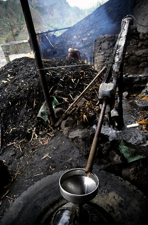 """In a """"trapiche"""" sugar cane is used to make a kind of firewater vey appreciated in Cape Verde called """"grog"""". The best one is usually from Santo Antao island where it is better distilled."""