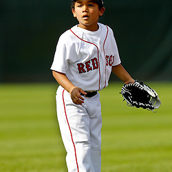 February 17, 2011; Fort Myers, FL, USA; D'Angelo Ortiz son of Boston Red Sox first baseman David Ortiz (not pictured) plays on the field during spring training at the Player Development Complex.  Mandatory Credit: Derick E. Hingle