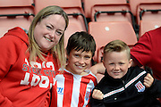 Stoke fans during the Barclays Premier League match between Stoke City and Liverpool at the Britannia Stadium, Stoke-on-Trent, England on 9 August 2015. Photo by Alan Franklin.