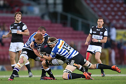 Philip van der Walt of the Sharks is tackled by Wilco Louw of Western Province and Jan de Klerk of Western Province during the Currie Cup Premier Division match between the DHL Western Province and the Sharks held at the DHL Newlands Rugby Stadium in Cape Town, South Africa on the 3rd September  2016<br /> <br /> Photo by: Shaun Roy / RealTime Images