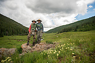 09 JUL 2015: Johnny Lecoq, Fishpond founder, and his daughter Land fish public lands near Vail, CO.