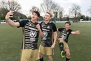 2019, April 17. IJFC, IJsselstein, The Netherlands. Niek Roozen, Stefan de Vries and Vincent Visser at Creators FC - IJFC Legends.
