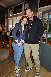 LEAH WOOD and JACK MACDONALD at a quiz night hosted by Zoe Jordan to celebrate the launch of her men's ZJKNITLAB collection held at The Larrick Pub, 32 Crawford Place, London on 20th April 2016.