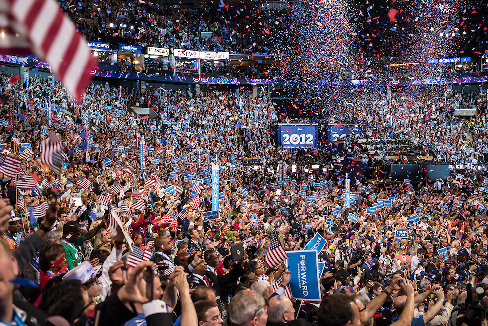 Confetti falls after President Barack Obama's speech at the Democratic National Convention on Thursday, September 6, 2012 in Charlotte, NC.