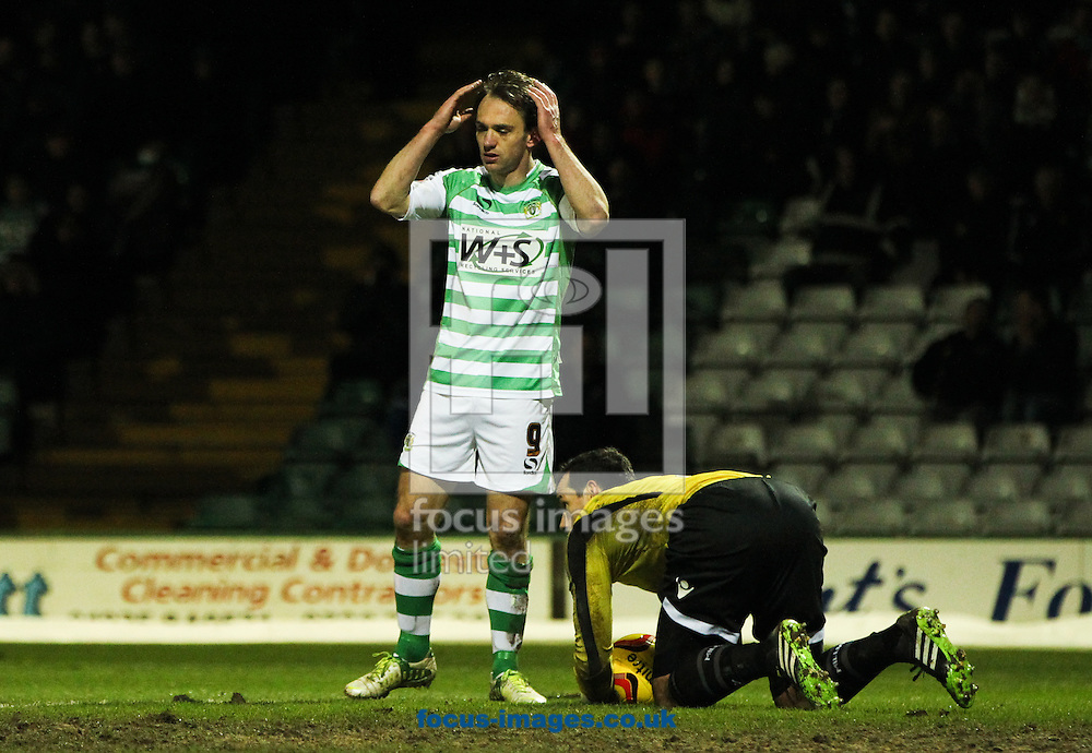 James Hayter (centre) of Yeovil Town reacts to a missed chance to score during the Sky Bet Championship match at Huish Park, Yeovil<br /> Picture by Tom Smith/Focus Images Ltd 07545141164<br /> 11/02/2014