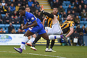 Gillingham defender Deji Oshilaja injured from a high kick and shortly substituted during the Sky Bet League 1 match between Gillingham and Port Vale at the MEMS Priestfield Stadium, Gillingham, England on 16 April 2016. Photo by Martin Cole.
