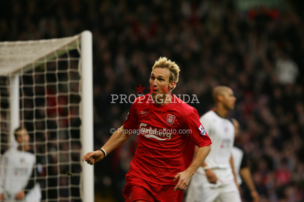 LIVERPOOL, ENGLAND - SATURDAY FEBRUARY 5th 2005: Liverpool's Sami Hyypia celebrates scoring the second goal during the Premiership against Fulham match at Anfield. (Pic by David Rawcliffe/Propaganda)