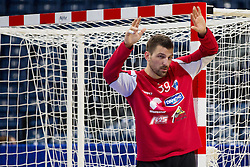 Primoz Prost of Slovenia during practice session of Slovenia national team 1 day before handball match against Macedonia for 5th place at 10th EHF European Handball Championship Serbia 2012, on January 26, 2012 in Beogradska Arena, Belgrade, Serbia.  (Photo By Vid Ponikvar / Sportida.com)