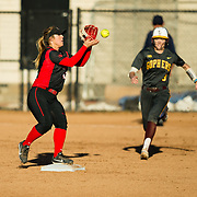 02 March 2018: San Diego State softball hosts Minnesota on day two of the San Diego Classic I at Aztec Softball Stadium. San Diego State infielder Katie Byrd (11) attempts to turn two in the top of the first against Minnesota. The Aztecs beat the #21/20 Gophers 6-2.<br /> More game action at sdsuaztecphotos.com
