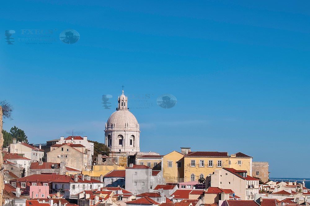 Lisbon, November 2012. View of Alfama district. Houses and National Mausoleum vault.