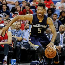 Mar 21, 2017; New Orleans, LA, USA; Memphis Grizzlies guard Andrew Harrison (5) against the New Orleans Pelicans during the second quarter of a game at the Smoothie King Center. Mandatory Credit: Derick E. Hingle-USA TODAY Sports