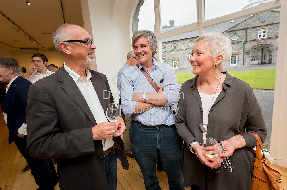 Repro Free No Charge for use<br /> <br /> 15-7-16<br /> <br /> Les Reed, Geoffrey Healy, ceramics tutor and Inga Reed pictured at the opening of Cr&eacute;, an exhibition of work by the 2016 graduates of the Design &amp; Crafts Council of Ireland&rsquo;s Ceramics Skills &amp; Design Course. <br /> <br /> The exhibition was officially opened by Dr. Audrey Whitty, Keeper of the Art and Industrial Division, National Museum of Ireland &ndash; Decorative Arts &amp; History. <br /> <br /> Cr&eacute; is open at the National Craft <br /> Gallery, Kilkenny until 1st August 2016.<br /> <br /> Picture Dylan Vaughan