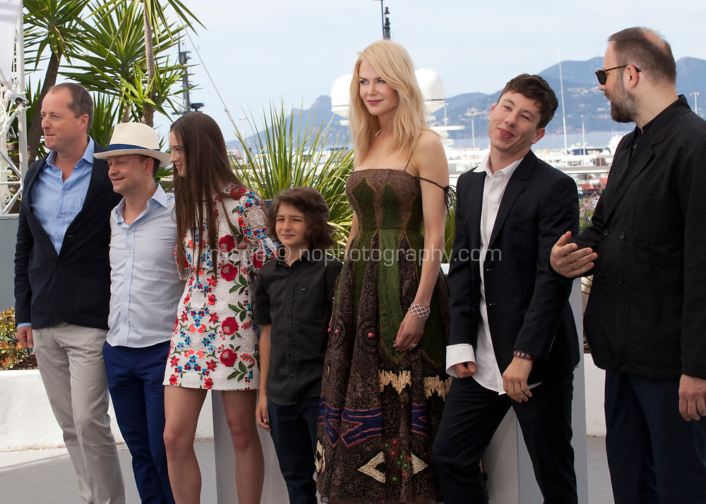 Andrew Lowe, Ed Guiney, Raffey Cassidy, Sunny Suljic, Nicole Kidman, Barry Keoghan and Yorgos Lanthimos at the The Killing of a Sacred Deer  film photo call at the 70th Cannes Film Festival Monday 22nd May 2017, Cannes, France. Photo credit: Doreen Kennedy