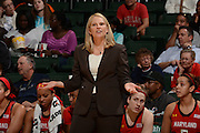 February 13, 2014: Head coach Brenda Frese of Maryland in action during the NCAA basketball game between the Miami Hurricanes and the Maryland Terrapins at the Bank United Center in Coral Gables, FL. The Terrapins defeated the Hurricanes 67-52.