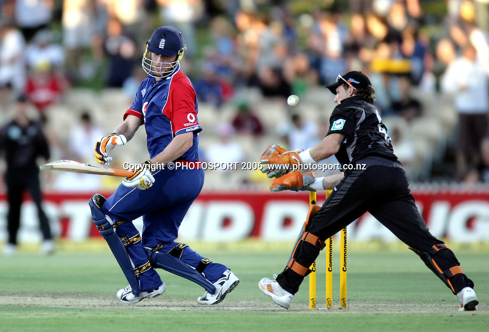 New Zealand wicketkeeper Brendon McCullum takes a catch to dismiss England captain Andrew Flintoff off the bowling of Vettori during the one day international cricket match between New Zealand and England at the Adelaide Oval on Tuesday 23 January 2007. New Zealand won by 90 runs. Photo: Andrew Cornaga/PHOTOSPORT<br /> <br /> <br /> <br /> 230107