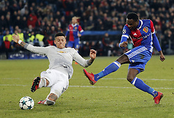 Manchester United Marcos Rojo (L) and Basel's Dimitri Oberlin during the UEFA Champions League group A match between Basel and Manchester United in Basel, Switzerland, November 22, 2017. Basel won 1-0. (Credit Image: © Ruben Sprich/Xinhua via ZUMA Wire)