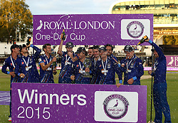 Gloucestershire celebrate winning The Royal London One Day Trophy - Mandatory byline: Robbie Stephenson/JMP - 07966 386802 - 19/09/2015 - Cricket - Lord's Cricket Ground - London, England - Gloucestershire CCC v Surrey CCC - Royal London One-Day Cup Final