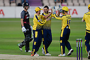 Shahid Afrid and Hampshire celebrate a wicket during the NatWest T20 Blast South Group match between Hampshire County Cricket Club and Somerset County Cricket Club at the Ageas Bowl, Southampton, United Kingdom on 29 July 2016. Photo by David Vokes.