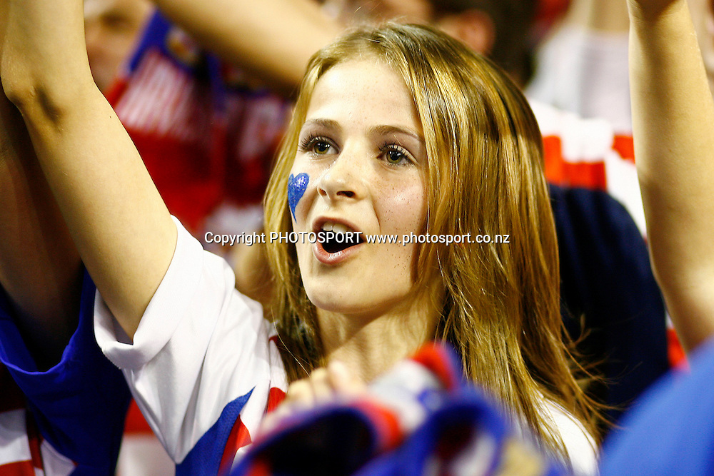 A Croatian fan cheers the team after their win over Australia. U19 Basketball World Championship, 3rd and 4th place game, Australia v Croatia, North Shore Events Centre, Auckland. 12 July 2009. Photo: Anthony Au-Yeung/PHOTOSPORT
