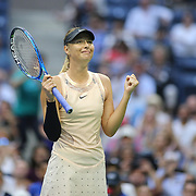 2017 U.S. Open Tennis Tournament - DAY THREE.  Maria Sharapova of Russia celebrates her victory against Timea Babos of Hungary during the Women's Singles round two match at the US Open Tennis Tournament at the USTA Billie Jean King National Tennis Center on August 30, 2017 in Flushing, Queens, New York City.  (Photo by Tim Clayton/Corbis via Getty Images)