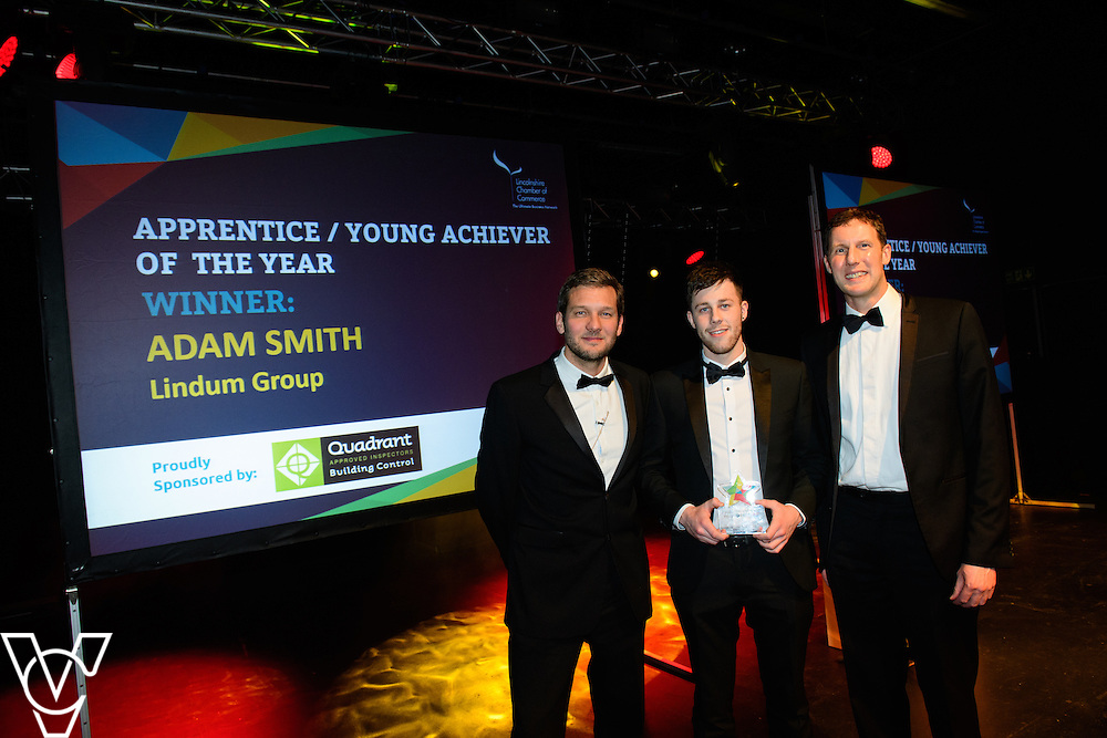 Lincolnshire Property and Construction Awards 2017.<br /> <br /> Apprentice / Young Achiever of the Year - Sponsored by Quadrant Building Control.<br /> <br /> Charlie Luxton and award sponsor Joe Champion from Quadrant Building Control presents the award to Adam Smith from Lindum Group.<br /> <br /> Picture: Chris Vaughan Photography for Lincolnshire Chamber of Commerce<br /> Date: February 7, 2017