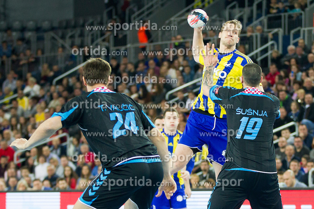 Ziga Mlakar of RK Celje Pivovarna Lasko during handball match between PPD Zagreb (CRO) and RK Celje Pivovarna Lasko (SLO) in 13th Round of Group Phase of EHF Champions League 2015/16, on February 27, 2016 in Arena Zagreb, Zagreb, Croatia. Photo by Urban Urbanc / Sportida