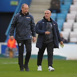 TELFORD COPYRIGHT MIKE SHERIDAN Guiseley joint managers Russ O'Neil and former Telford United player Marcus Bignot during the Vanarama National League Conference North fixture between AFC Telford United and Guiseley on Saturday, October 19, 2019.<br /> <br /> Picture credit: Mike Sheridan/Ultrapress<br /> <br /> MS201920-026