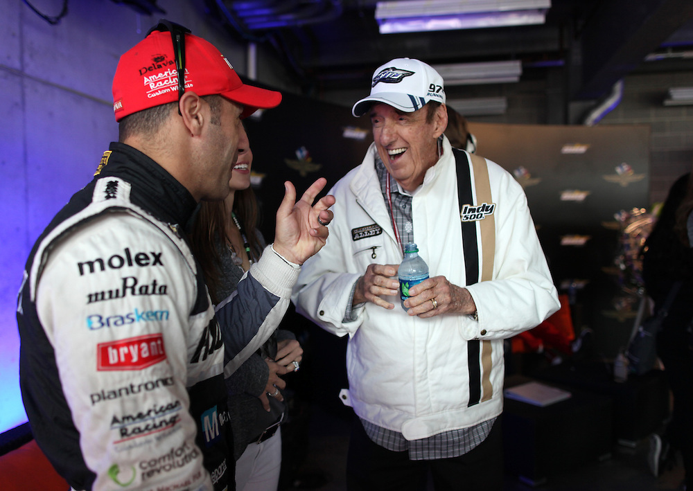 Jim Neighbors talks to IndyCar driver Tony Kanaan in the green room before the 97th running of the Indianapolis 500 at Indianapolis Motor Speedway Sunday May 26, 2013.  .Chris Bergin/ for The Star