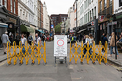 © Licensed to London News Pictures. 04/07/2020. London, UK. Soho Streets are pedestrianized as restaurants and bars reopen after a relaxing of rules during the Covid-19 pandemic. Photo credit: Ray Tang/LNP