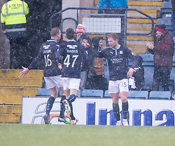 Dundee's Greg Stewart cele scoring their second goal. <br /> half time : Dundee 3 v 1 Motherwell, SPFL Premiership played 10/1/2015 at Dundee's home ground Dens Park.