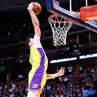 09 March 2018: Los Angeles Lakers guard Lonzo Ball (2) goes for the dunk during the Denver Nuggets125-116 victory over the Los Angeles Lakers, at the Pepsi Center, Denver, Colorado, USA.