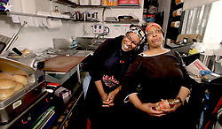 April 28, 2019 - Kansas City, KS, USA - Mary ''Shorty'' Jones Mosley (left) and her sister Deborah ''Little'' Jones were featured in the third season of Netflix's ''Queer Eye.'' Since then, they said they've served customers from as far as Australia, England and Canada. (Credit Image: © TNS via ZUMA Wire)