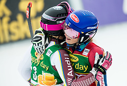 "Frida Hansdotter (SWE) and Mikaela Shiffrin (USA) hugging after the 2nd Run of the FIS Alpine Ski World Cup 2017/18 7th Ladies' Slalom race named ""Golden Fox 2018"", on January 7, 2018 in Podkoren, Kranjska Gora, Slovenia. Photo by Ziga Zupan / Sportida"