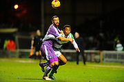 Plymouth Argyle's Jordon Forster and Yeovil Town's Tahvon Campbell battle for the ball during the Sky Bet League 2 match between Yeovil Town and Plymouth Argyle at Huish Park, Yeovil, England on 23 February 2016. Photo by Graham Hunt.