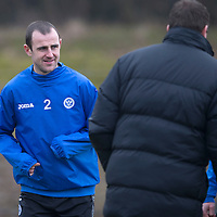 St Johnstone Training....13.02.15<br /> Dave Mackay listens to manager Tommy Wright in training at McDiarmid Park this morning ahead of tomorrow's game against Celtic<br /> Picture by Graeme Hart.<br /> Copyright Perthshire Picture Agency<br /> Tel: 01738 623350  Mobile: 07990 594431