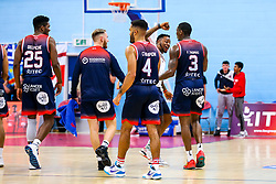 Fred Thomas of Bristol Flyers celebrates after a half court buzzer beater - Rogan/JMP - 11/10/2019 - BASKETBALL - SGS Wise Arena - Bristol, England - Bristol Flyers v Plymouth Raiders - BBL Cup.
