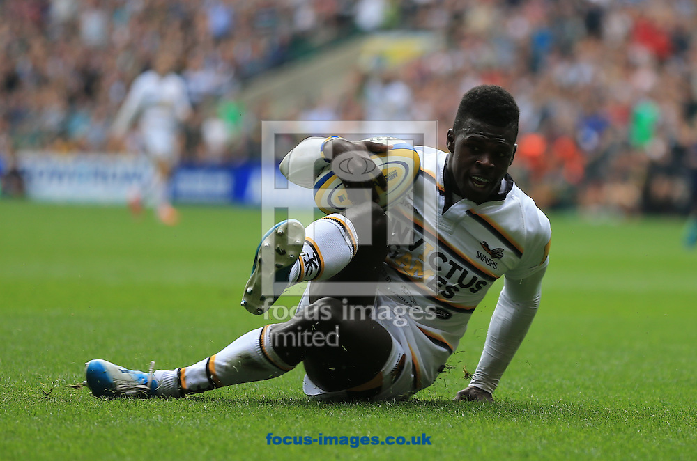 Christian Wade of london Wasps scores during the Aviva Premiership match at Twickenham stadium, London<br /> Picture by Michael Whitefoot/Focus Images Ltd 07969 898192<br /> 06/09/2014