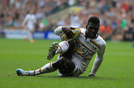Christian Wade of london Wasps scores during the Aviva Premiership match at Twickenham stadium, London<br />