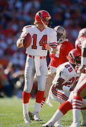 SAN FRANCISCO - NOVEMBER 23:  Turk Schonert #14 of the Atlanta Falcons plays in a National Football League game against the San Francisco 49ers on November 23, 1986 at Candlestick Park in San Francisco, California.   Sylvester Stamps #29 is visible at right.  (Photo by David Madison/Getty Images)