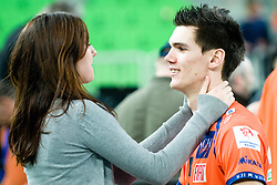 Alen Sket of ACH Volley with his girlfriend Tia during volleyball match between ACH Volley (SLO) and Zenit Kazan (RUS) in Playoffs 12 Round of 2011 CEV Champions League, on February 2, 2011 in Arena Stozice, Ljubljana, Slovenia. (Photo By Matic Klansek Velej / Sportida.com)