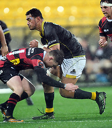 Wellington's Teariki Ben-Nicholas, right, runs into Canterbury's Josh McKay in the Mitre 10 Rugby match at Westpac Stadium, Wellington, New Zealand, Sunday September 17,, 2017. Credit:SNPA / Ross Setford  **NO ARCHIVING**