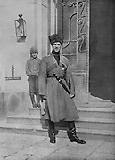 Grand Duke Michael Alexandrovich of Russia, 1878-1918, wearing the uniform of the Cossacks he commanded in Galicia, photograph published full page in L'Illustration no.3864, 24th March 1917. The Grand Duke was brother to Tsar Nicolas II, who gave him the crown when he abdicated on 16th March. However,  Grand Duke Michael Alexandrovich publicly declared he would not accept the crown without the support of the Russian people. Picture by Manuel Cohen