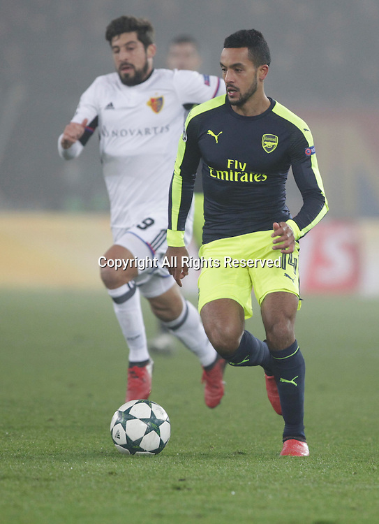 06.12.2016. Basel, Switzerland. Theo Walcott (Arsenal) in action at the Champions League Group A FC Basle versus Arsenal at St. Jakob Park in Basel, Switzerland