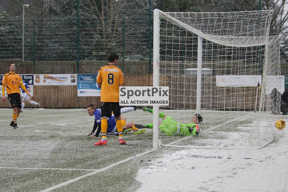 Annan Athletic v Easty Fife SPFL2 16 January 2016<br />Jamie INsale scores for East Fife.<br />(c) Russell G Sneddon / SportPix.org.uk
