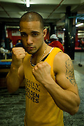 Gleason's Gym, Dumbo, Brooklyn, New York.Gadiel Romero (24) 165 pounds takes part in the Golden Gloves boxing competition....