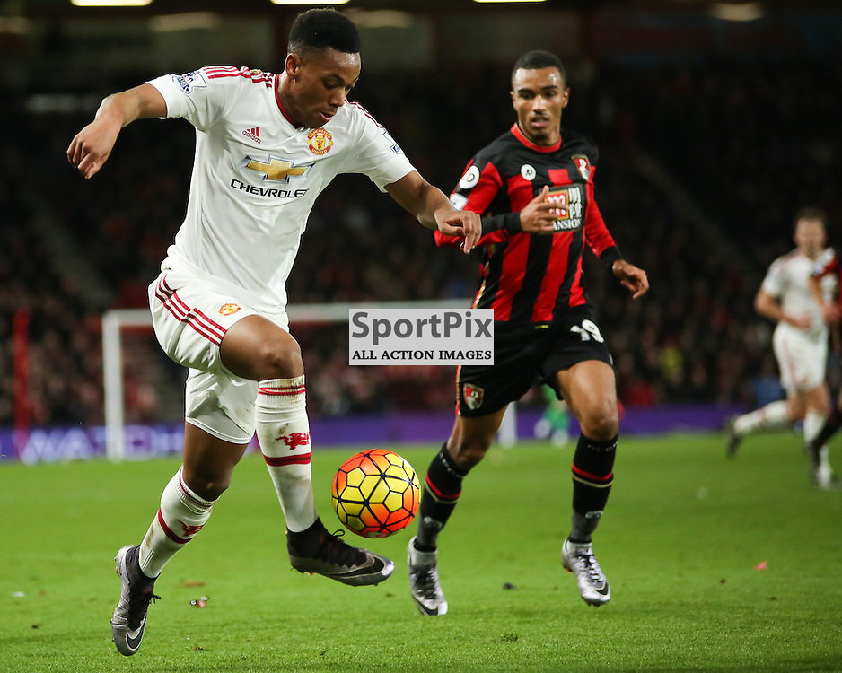 Anthony Martial under pressure from Junior Stanislas During Bournemouth vs Manchester United on Saturday the 12th December 2015.