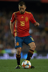 March 23, 2019 - Valencia, Valencia, Spain - Jordi Alba of Spain controls the ball during the 2020 UEFA European Championships group F qualifying match between Spain and Norway at Estadi de Mestalla on March 23, 2019 in Valencia, Spain. (Credit Image: © Jose Breton/NurPhoto via ZUMA Press)